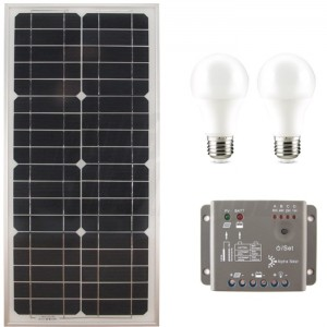 Kit Fotovoltaico 27W con Pannello, Regolatore e 2 Lampadine a LED