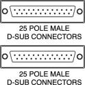 Cavo seriale DB25 maschio - DB25 maschio 1,8 m.